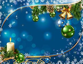 Hintergrundbilder Neujahr Kerzen Ast Kugeln Schneeflocken Glocke Vorlage Grußkarte
