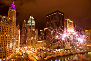 Desktop wallpapers Houses Fireworks USA Night time Chicago city Cities