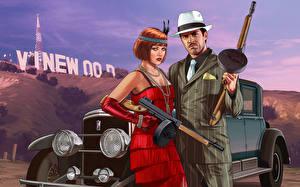 Photo GTA 5 Man Assault rifle Two Hat Redhead girl  Games