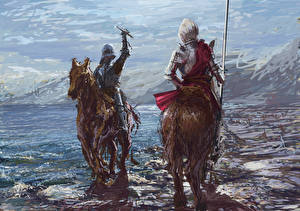 Desktop wallpapers Middle Ages Knight Horses Two Armour Spear Fantasy