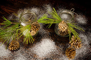 Pictures Powdered sugar Jar Boards Conifer cone Branches Nature