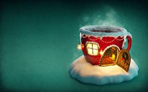 Fotos Neujahr Feiertage Gebäude Becher Fenster Türen Dampf