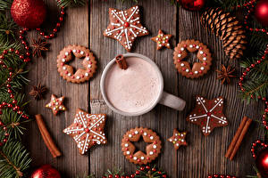 Picture New year Drinks Cookies Cocoa Boards Design Conifer cone Star decoration Mug Food