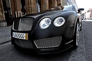 Hintergrundbilder Bentley Großansicht Schwarz Fahrzeugscheinwerfer Luxus continental mansory Autos