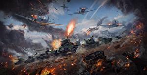 Wallpapers War Thunder Tank SPG Fighter aircraft War Firing Russian Games