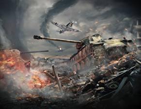 Wallpapers War Thunder Tank Fighter aircraft War German Panther Games
