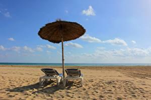 Bilder Himmel Sommer Regenschirm Strand Sonnenliege Natur