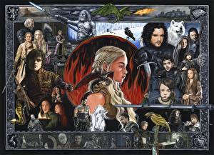 Bureaubladachtergronden Game of Thrones Emilia Clarke Daenerys Targaryen Mannen Krijgers Een draak Films Jonge_vrouwen