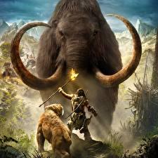 Fotos Far Cry Mammute Krieger Far Cry Primal Fackel computerspiel
