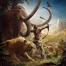 Hintergrundbilder Far Cry Bogenschütze Elefanten Mammute Far Cry Primal Spiele