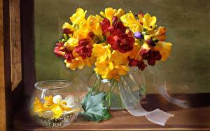 Bilder Sträuße Freesien Vase Blumen