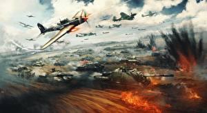 Wallpaper War Thunder Tank Self-propelled gun Fighter Airplane Explosions War Russian Games