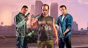 Pictures GTA 5 Men Pistols Assault rifle Three 3 Negroid Franklin, Trevor, Michael vdeo game