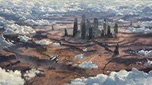 Picture Star Citizen Fantastic world Ships Clouds Games Fantasy