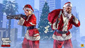 Pictures GTA 5 Christmas Rifles Pistols Shotgun Masks Two Santa Claus Winter hat vdeo game