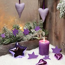 Bilder Neujahr Kerzen Bretter Ast Stern-Dekoration Herz