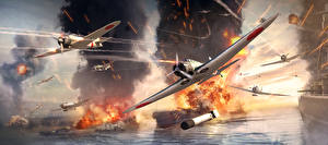 Pictures War Thunder Airplane Fighter aircraft Explosions War Japanese Flight Games