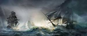 Image Assassin's Creed 3 Ships Sailing Waves Games