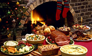 Picture Christmas Holidays Table appointments Baking Confectionery Vegetables Ham Pound Cake Socks Food