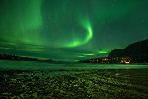 Hintergrundbilder Vereinigte Staaten Himmel Stern Küste Alaska Polarlicht Nacht Juneau Natur