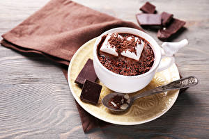 Pictures Chocolate Hot chocolate drink Saucer Spoon Marshmallow