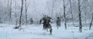 Pictures Assassin's Creed 3 Soldier Winter Snow Run Trees