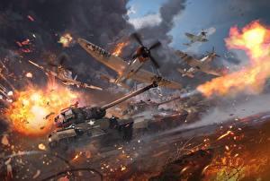 Bureaubladachtergronden War Thunder Tank Vliegtuigen Jachtvliegtuig Explosie Schieten Amerikaans Patton Computerspellen