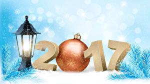 Hintergrundbilder Neujahr 2017 Kugeln Ast Schneeflocken Laterne