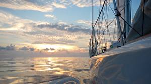 Pictures Water Yacht Sky Evening Clouds Nature