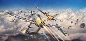 Hintergrundbilder War Thunder Flugzeuge Jagdflugzeug Krieg Schuss Deutsche Russischer Wolke Flug computerspiel