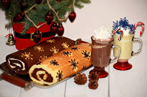 Image New year Pastry Roulade Mug Two Pine cone Food