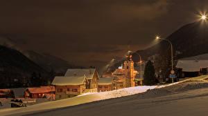 Image Switzerland Houses Winter Snow Night time Reckingen Goms Cities