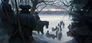 Wallpaper Assassin's Creed 3 Soldier Horses Rifles Winter Snow