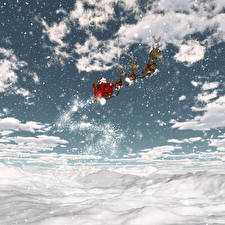 Pictures Christmas Sky Deer Clouds Sled Snow Snowflakes 3D_Graphics