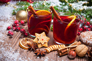 Pictures New year Drinks Cinnamon Star anise Illicium Cookies Nuts Wood planks Mug Two Food