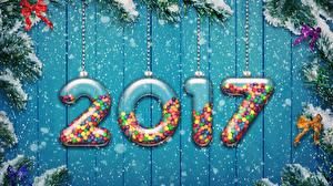 Fotos Neujahr 2017 Schnee Schleife Christbaum Ast