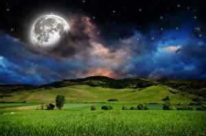 Fotos Landschaftsfotografie Acker Grünland Himmel Stern Nacht Mond Wolke Hügel Natur