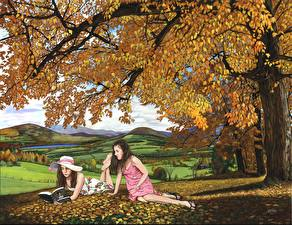 Wallpaper Painting Art Meadow Two Trees Books Hat Female Girls Nature