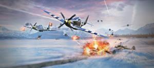 Bureaubladachtergronden War Thunder Vliegtuig Jachtvliegtuig Explosie Amerikaans Vlucht Computerspellen