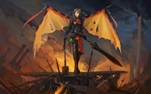 Wallpaper DOTA 2 Legion Commander Warrior Swords Armor vdeo game Fantasy Girls