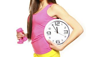 Bilder Fitness Uhr Unterhemd Hand Hantel Weißer hintergrund Mädchens