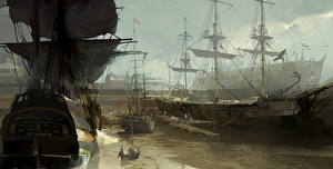 Pictures Assassin's Creed 3 Ships Sailing Painting Art vdeo game