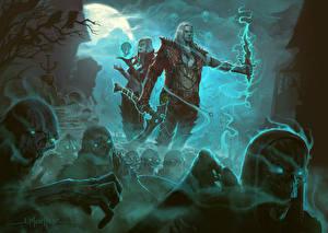 Image Diablo III Warrior Sorcery Undead Cemetery Man Battle axes Night time Moon Games Fantasy