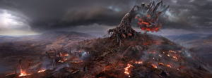 Image The Witcher 3: Wild Hunt Flame Trees Storm cloud Demonic Tree Games Fantasy