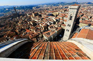 Wallpaper Houses Italy Cathedral Florence From above Tower Cathedral of Saint Mary of the Flower Cities