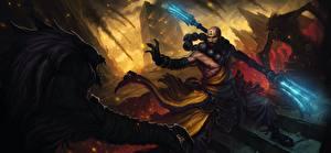 Bilder Diablo 3 Ungeheuer Krieger Magierstab Mönch Spiele Fantasy
