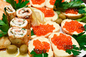 Fotos Butterbrot Meeresfrüchte Kaviar das Essen