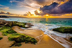 Wallpaper Sunrises and sunsets Coast Waves USA Scenery Ocean Hawaii Moss Clouds Beach Nature