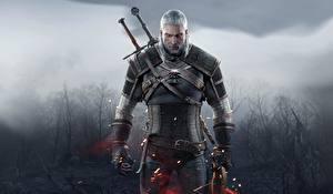 Bilder The Witcher 3: Wild Hunt Geralt von Rivia Krieger Mann Schwert Rüstung Spiele Fantasy
