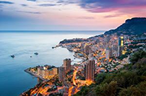 Pictures Monte Carlo Monaco Sea Houses Mountain Evening Coast Cities